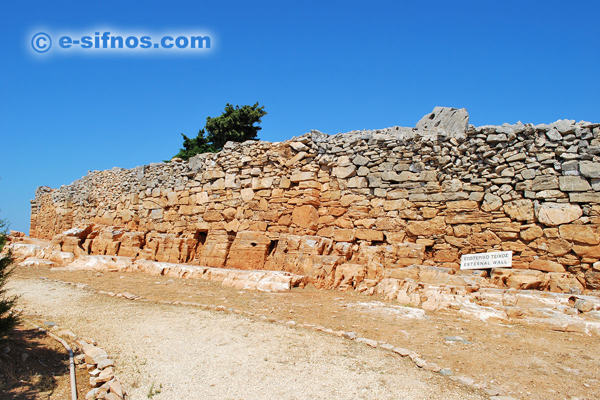 The external wall of the Mycenaean Citadel of Agios Andreas in Sifnos