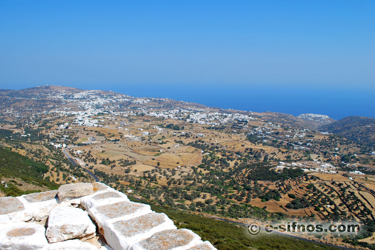 View to the central villages and the Aegean from Agios Andreas