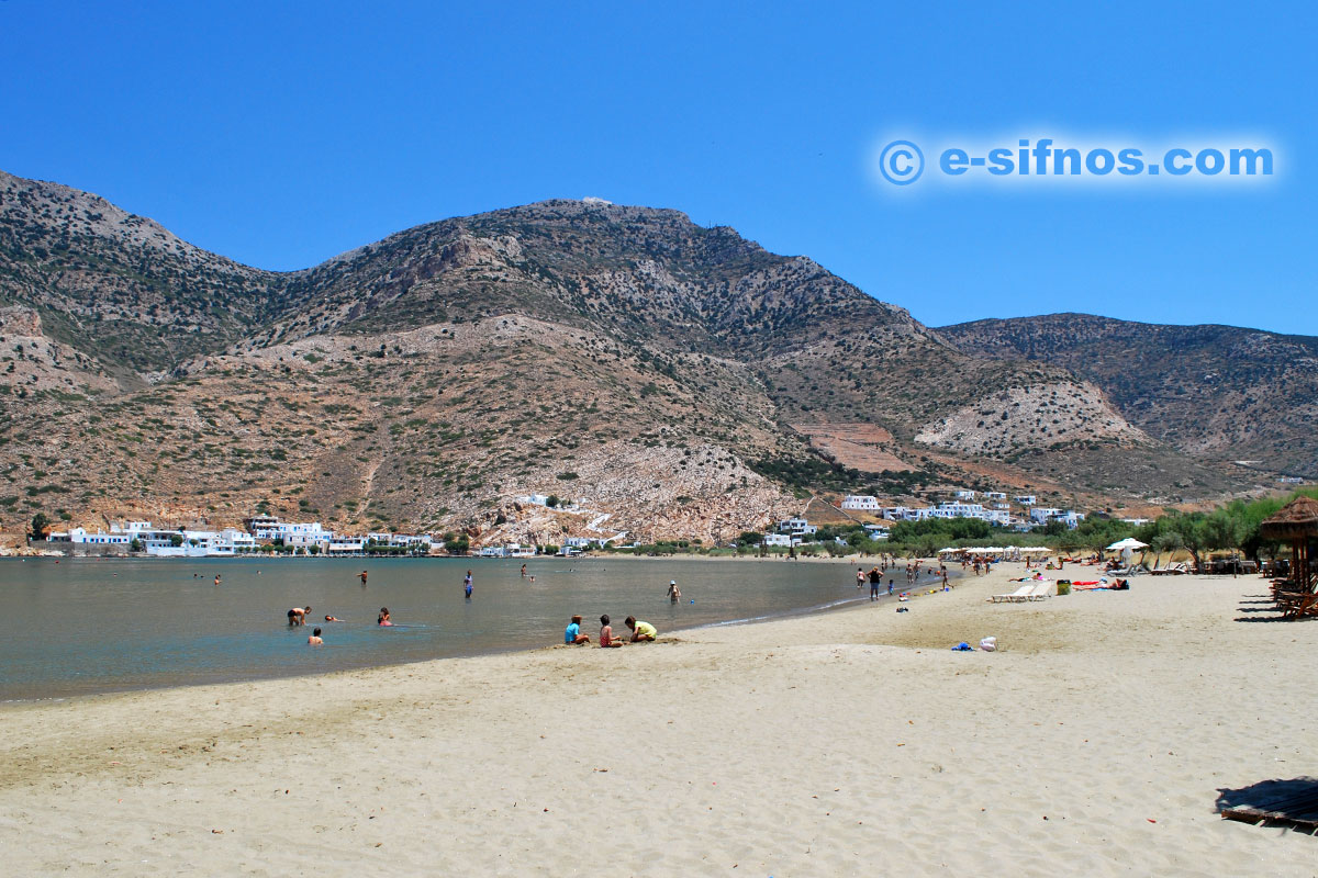The beach of Kamares from Agia Marina district
