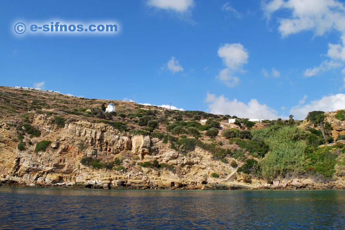 The coast of Poulati on the east part of Sifnos