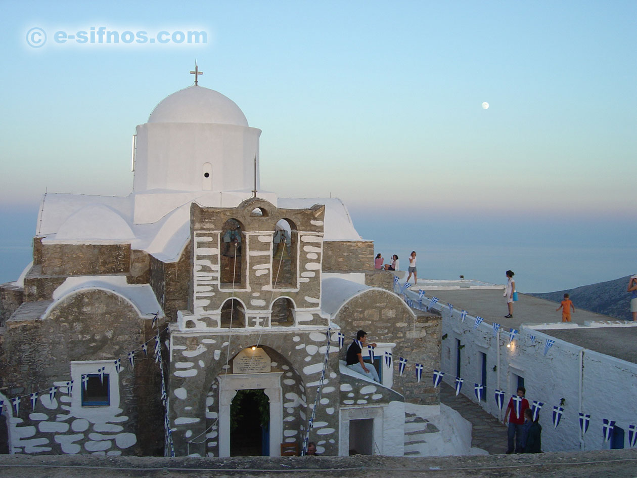 The monastery of Prophet Elias, on the taller mountain of Sifnos