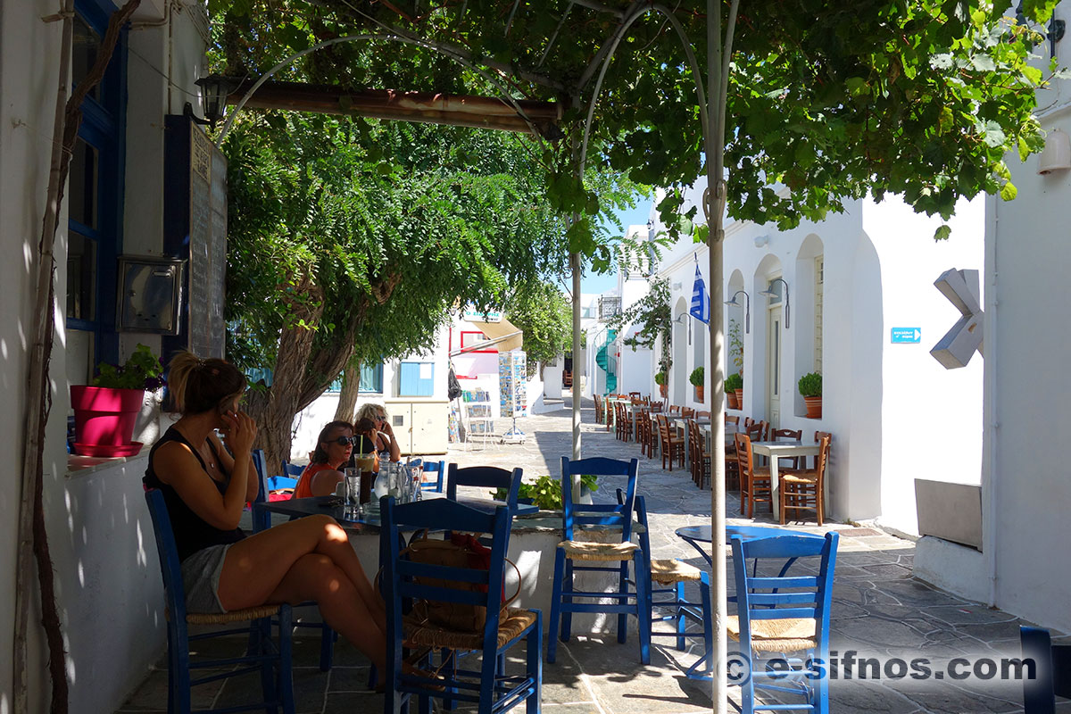 Enjoying the first coffee at the central alley of Apollonia