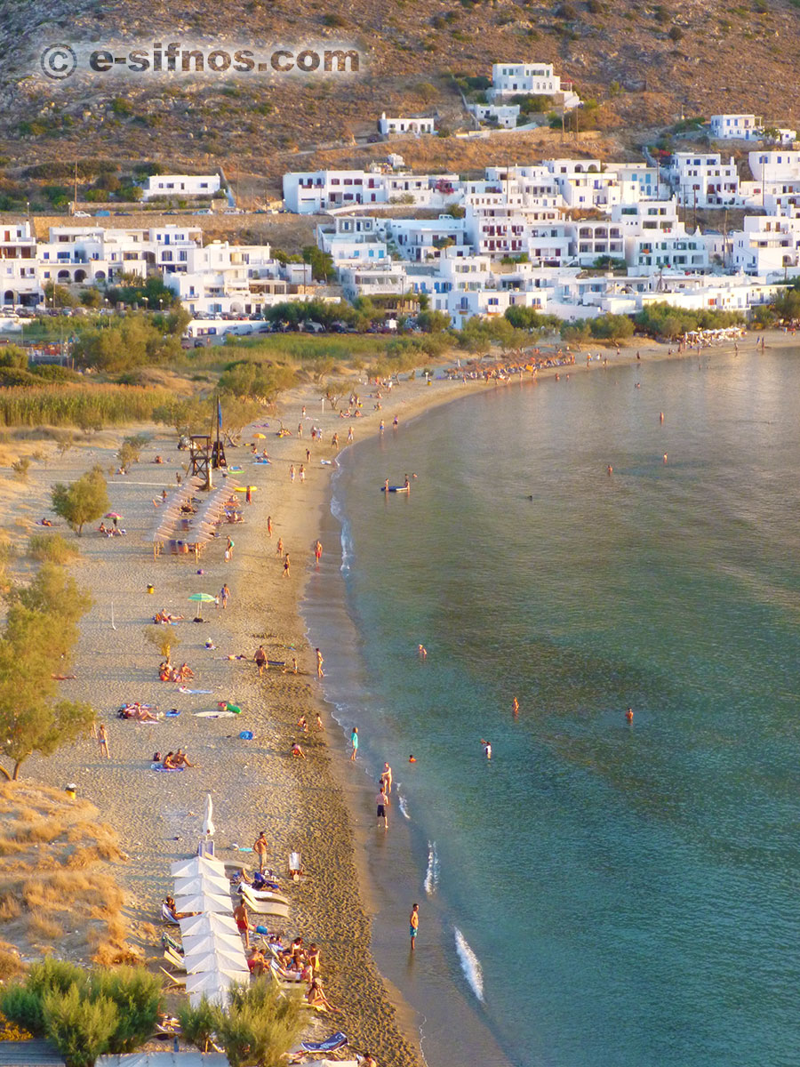 Kamares beach at the sunset, from Agia Marina