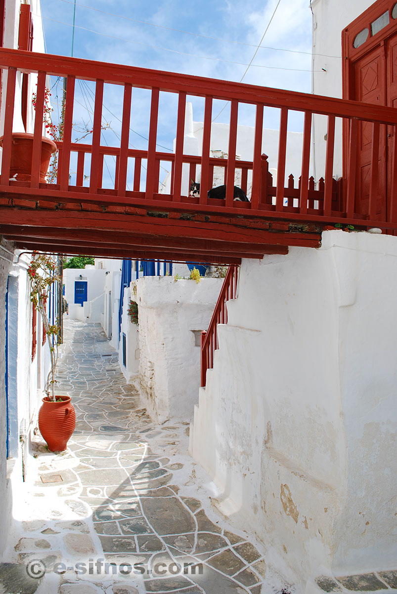 A red balcony in Kastro village in Sifnos