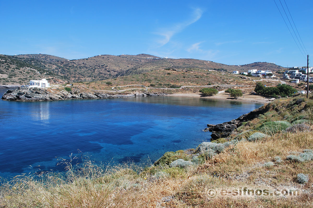 The beach of Fassolou from the road that leads to the monastery of Stavros