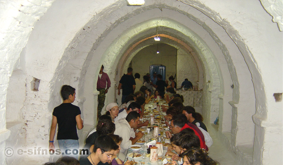 The big table-trapeza at a feast of Sifnos