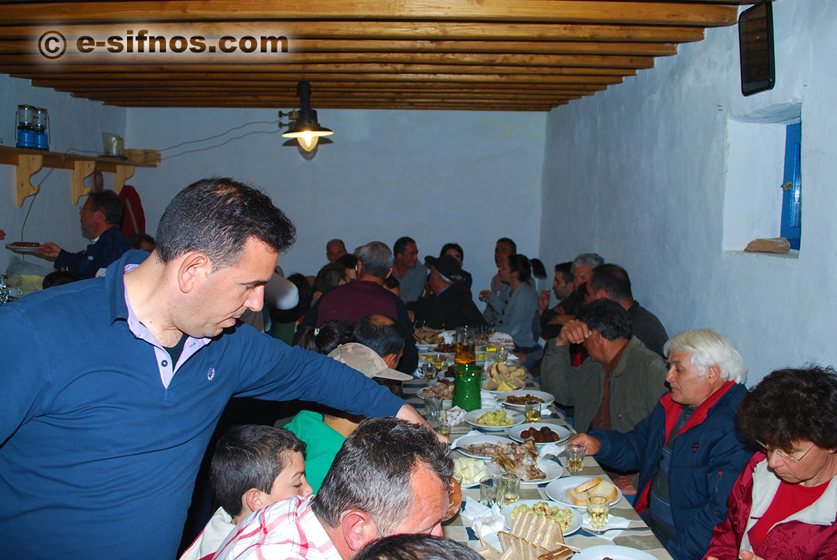 Serving food at a feast in Sifnos