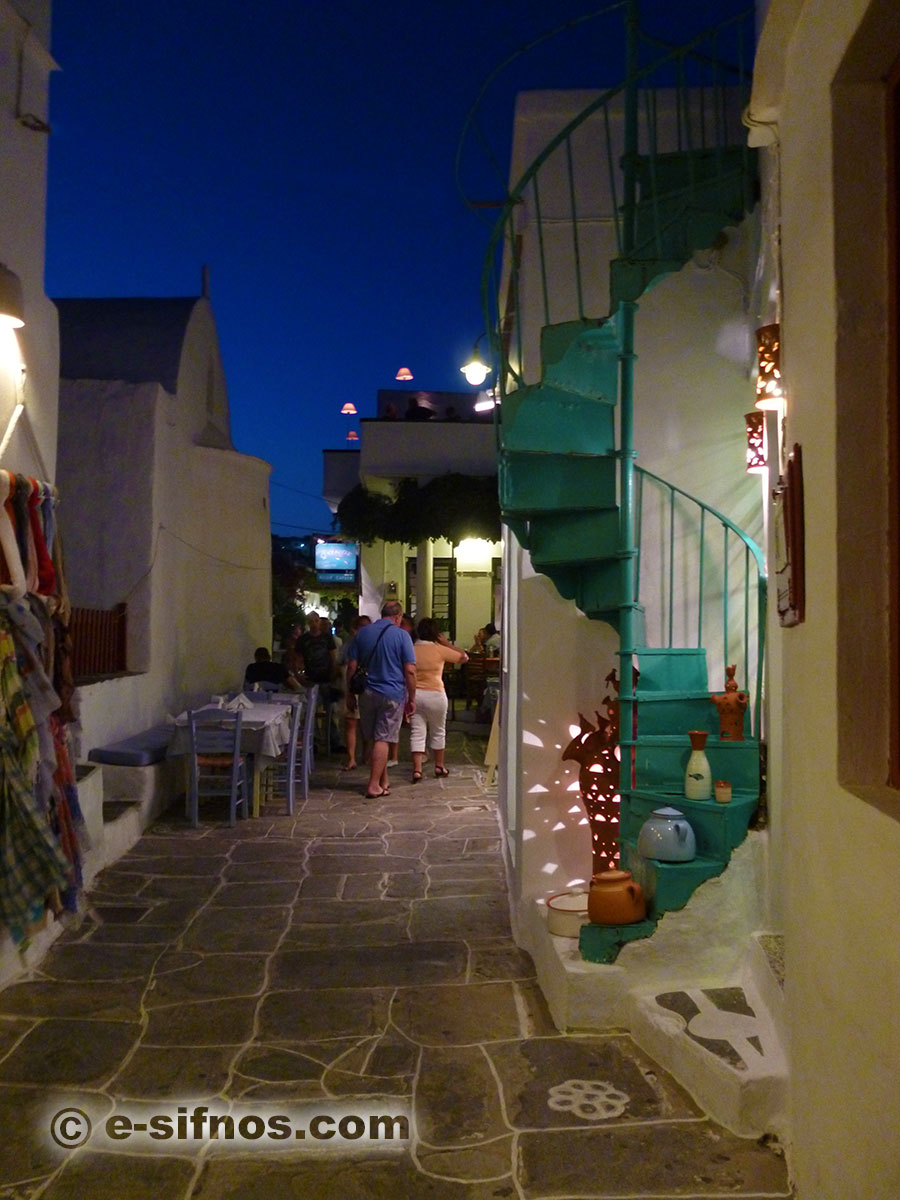 The commercial alley of Apollonia in Sifnos
