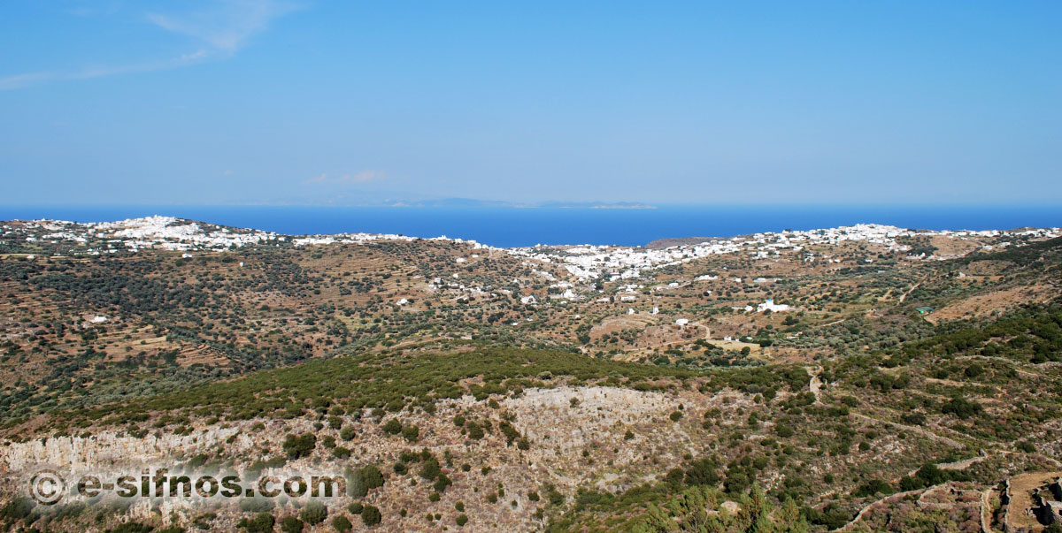 The central villages of Sifnos, as seen from the trail of Prophet Elias
